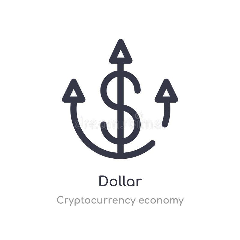 icono del esquema del dólar l?nea aislada ejemplo del vector de la colecci?n de la econom?a del cryptocurrency icono fino editabl ilustración del vector