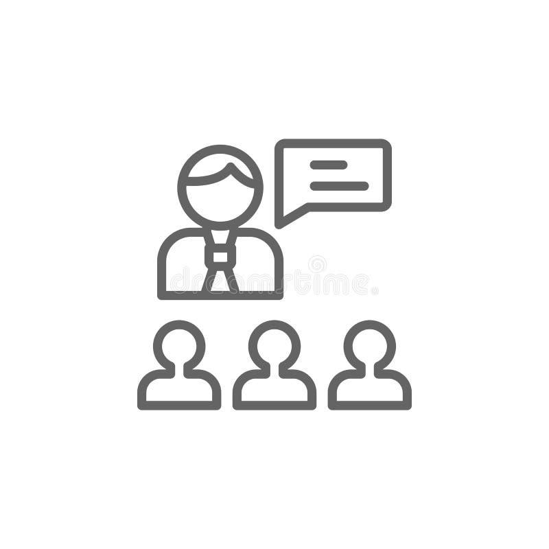 Icono del esquema de Boss Elementos de la l?nea icono del ejemplo del negocio Las muestras y los s?mbolos se pueden utilizar para stock de ilustración