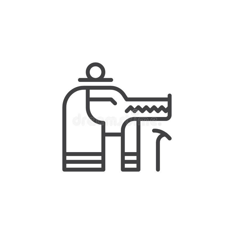 Icono del esquema de dios de Sobek Egipto stock de ilustración