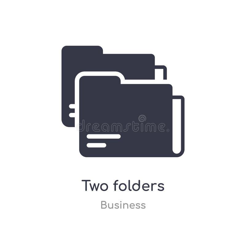 icono del esquema de dos carpetas l?nea aislada ejemplo del vector de la colecci?n del negocio icono fino editable de las carpeta ilustración del vector