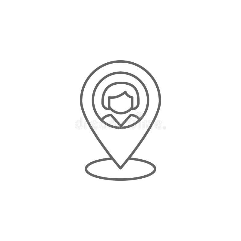 icono del esquema de la amistad de la localización Elementos de la línea icono de la amistad Las muestras, los símbolos y los vec libre illustration