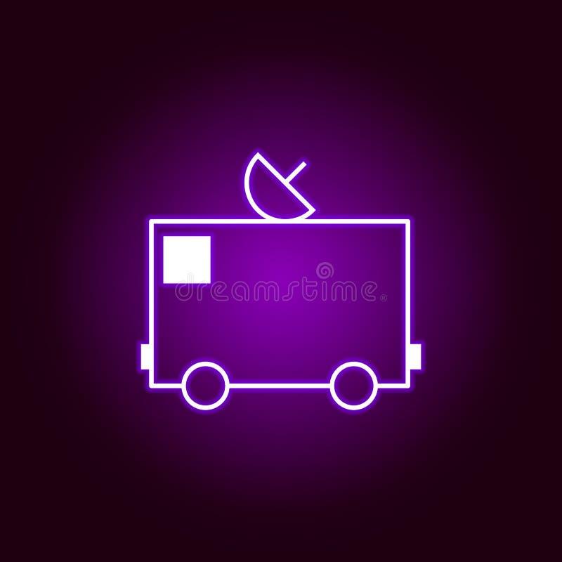 icono del esquema de la antena del camión en el estilo de neón Elementos del ejemplo de la reparación del coche en el icono de ne ilustración del vector