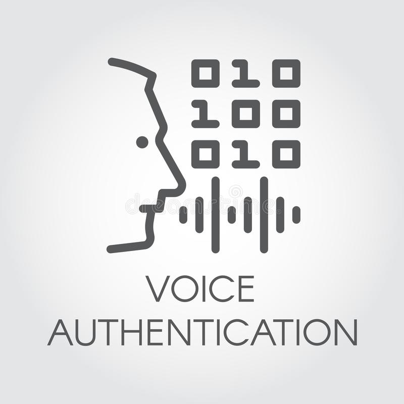 Icono del esquema de la autentificación de la voz Perfil de la cabeza del hombre, de soundwave y del control del código Tecnologí stock de ilustración