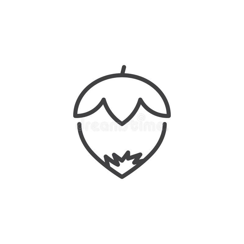 Icono del esquema de la avellana stock de ilustración