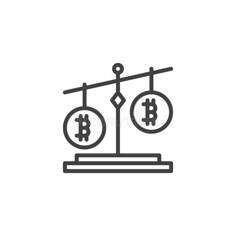 Icono del esquema de la balanza de Bitcoin stock de ilustración
