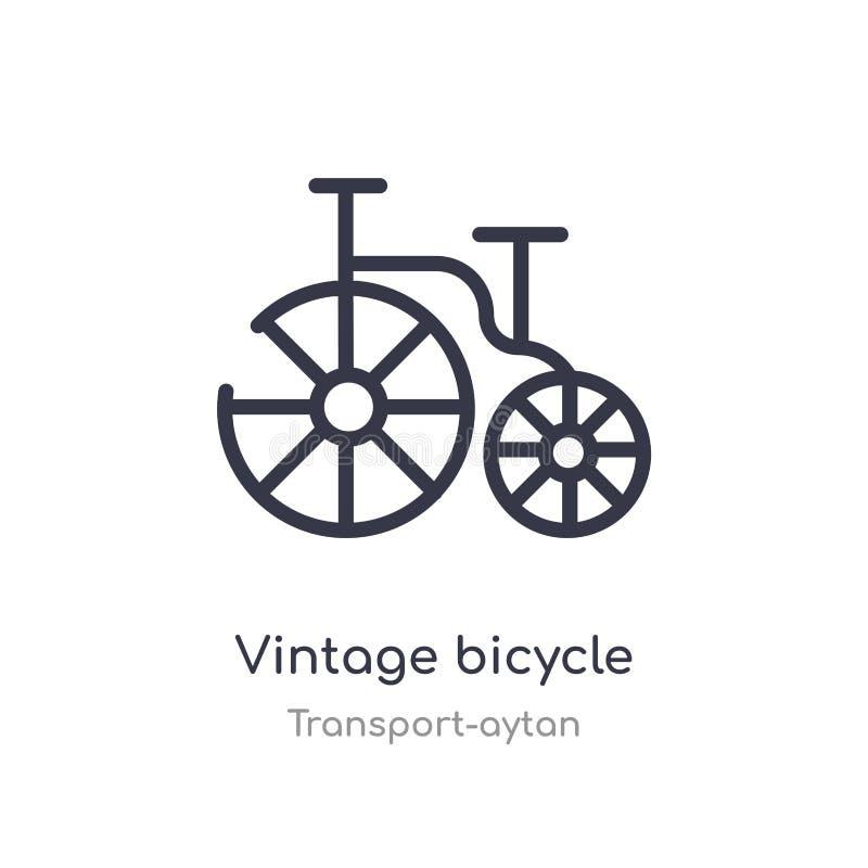 icono del esquema de la bicicleta del vintage l?nea aislada ejemplo del vector de la colecci?n del transporte-aytan vintage fino  stock de ilustración