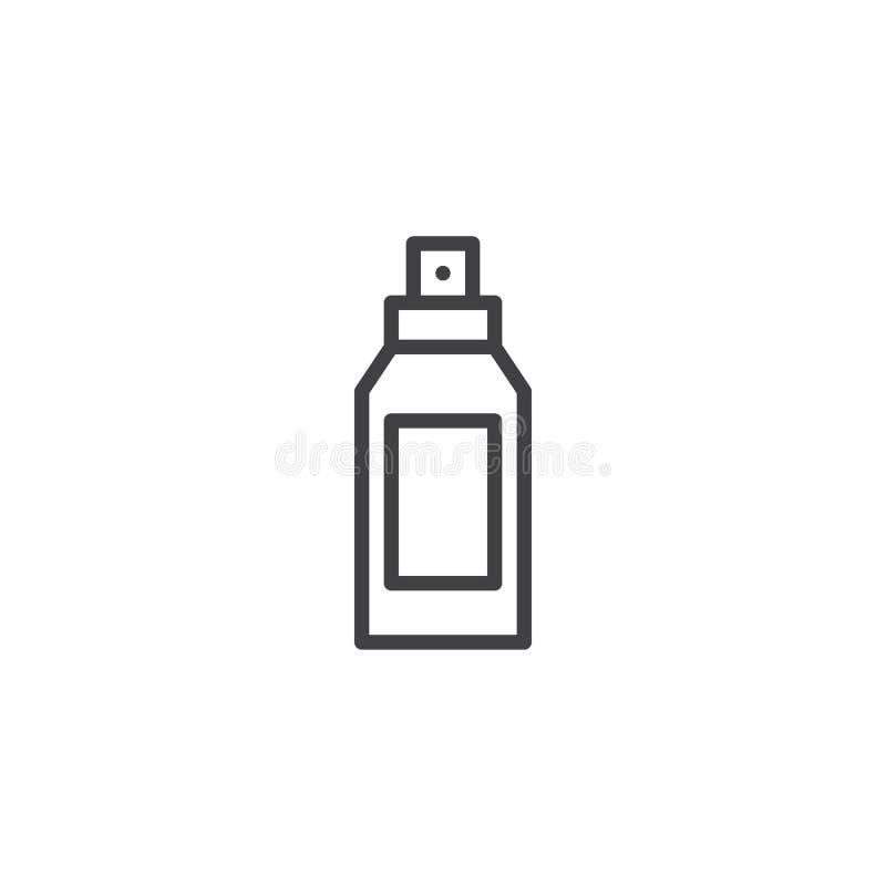 Icono del esquema de la botella del desodorante ilustración del vector