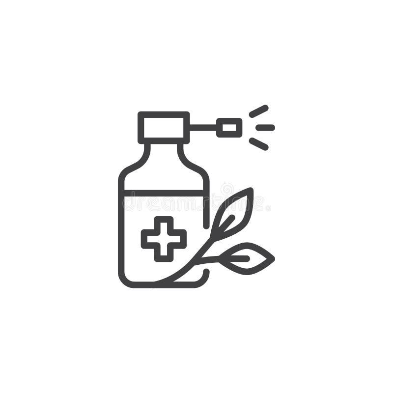 Icono del esquema de la botella y de la hoja del espray de la medicina libre illustration