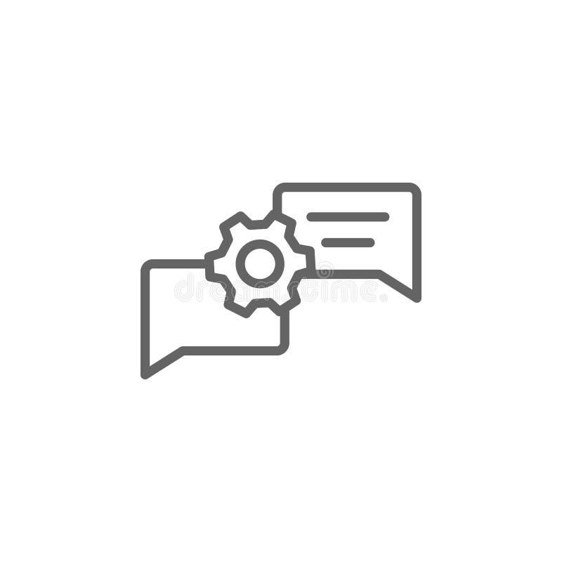 Icono del esquema de la burbuja de la charla de la discusión Elementos de la l?nea icono del ejemplo del negocio Las muestras y l ilustración del vector