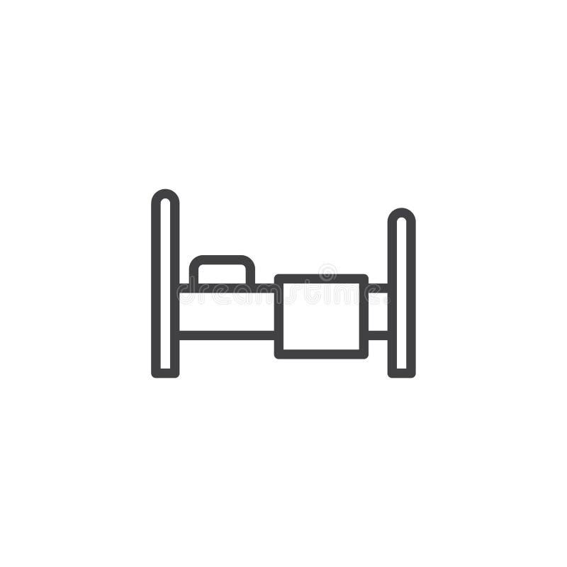 Icono del esquema de la cama ilustración del vector