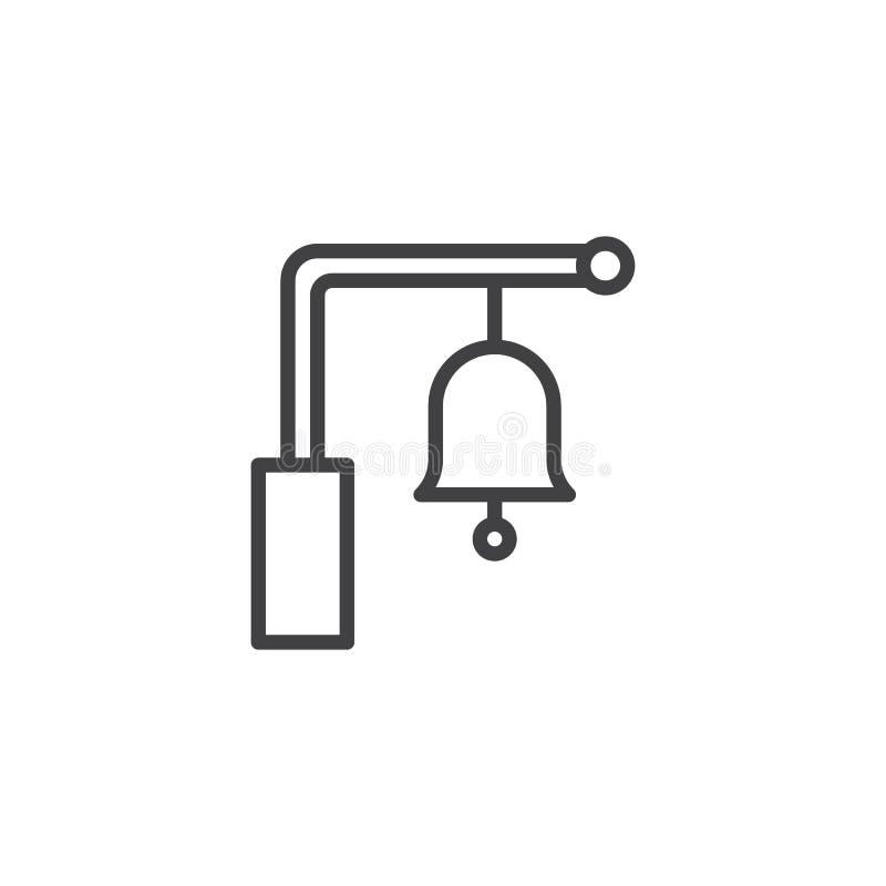Icono del esquema de la campana de la estación de tren ilustración del vector
