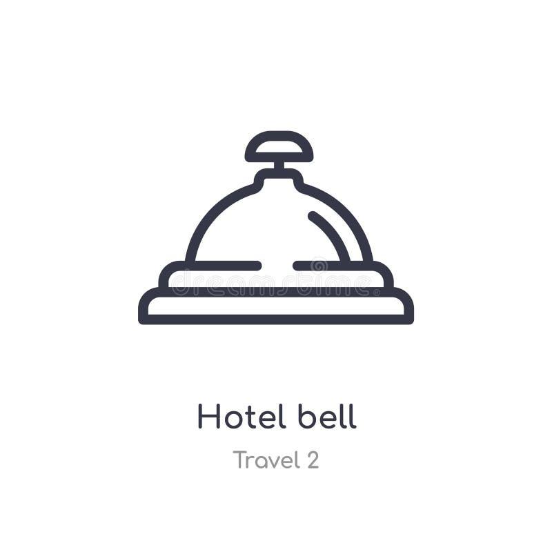 Icono del esquema de la campana del hotel l?nea aislada ejemplo del vector de la colecci?n del viaje 2 icono fino editable de la  stock de ilustración