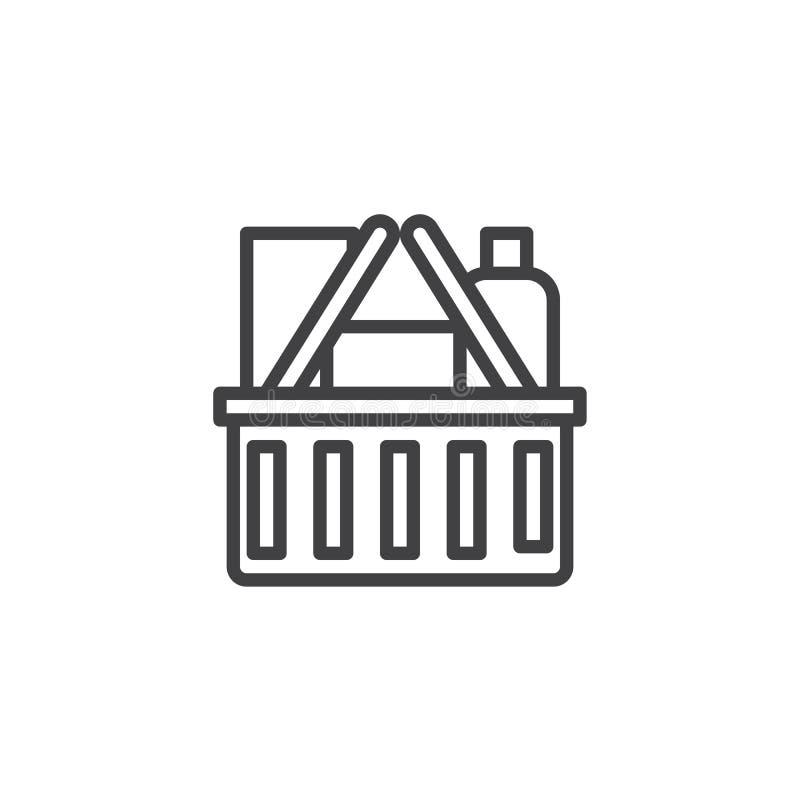 Icono del esquema de la cesta de compras libre illustration