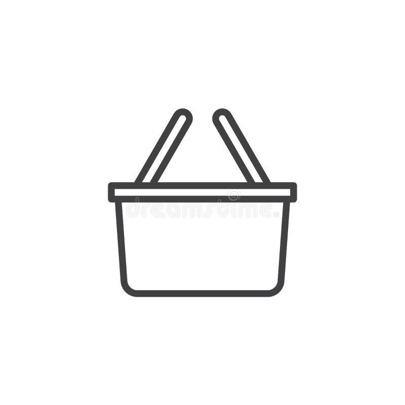 Icono del esquema de la cesta de compras stock de ilustración