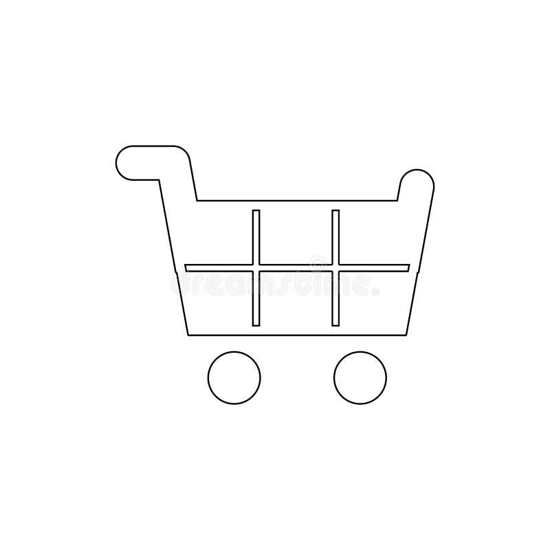 Icono del esquema de la cesta o del carro de la compra Las muestras y los s?mbolos se pueden utilizar para la web, logotipo, app  stock de ilustración