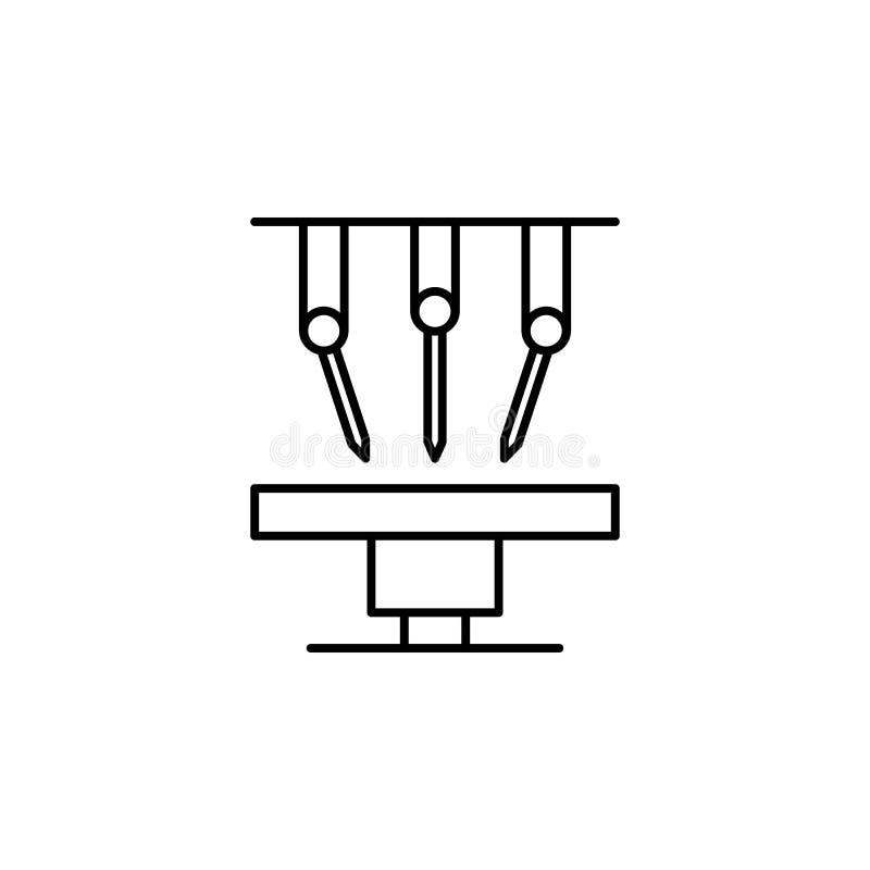 Icono del esquema de la cirugía de la robótica Las muestras y los símbolos se pueden utilizar para la web, logotipo, app móvil, U ilustración del vector