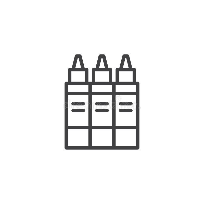 Icono del esquema de la colección de los rotuladores stock de ilustración