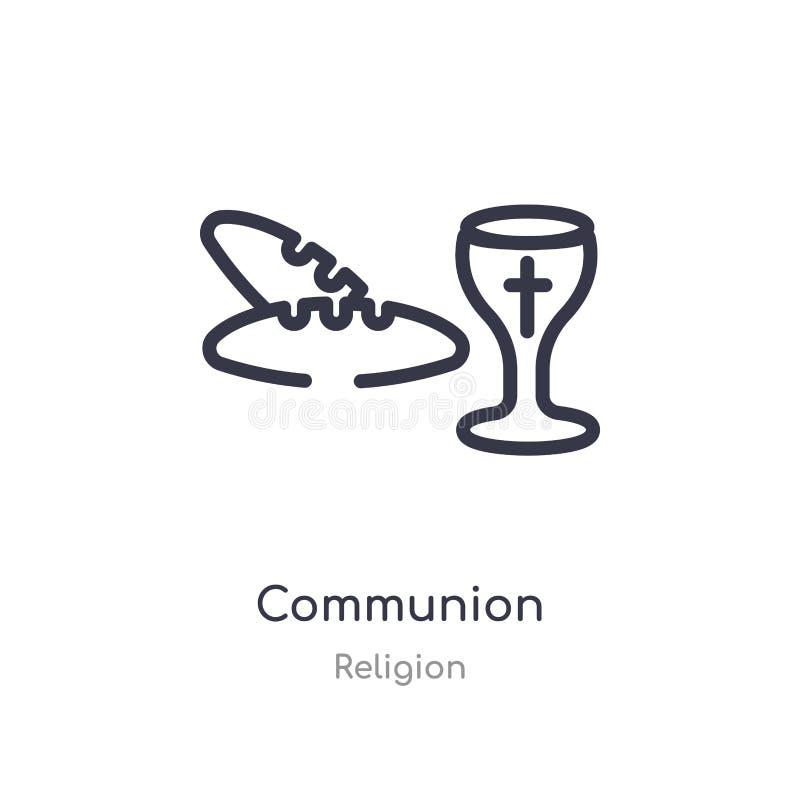 icono del esquema de la comunión l?nea aislada ejemplo del vector de la colecci?n de la religi?n icono fino editable de la comuni libre illustration