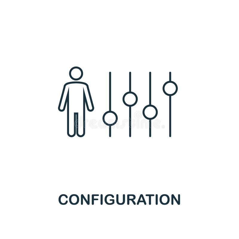 Icono del esquema de la configuración Diseño superior del estilo de la colección de los iconos de la gestión del proyecto Icono s stock de ilustración