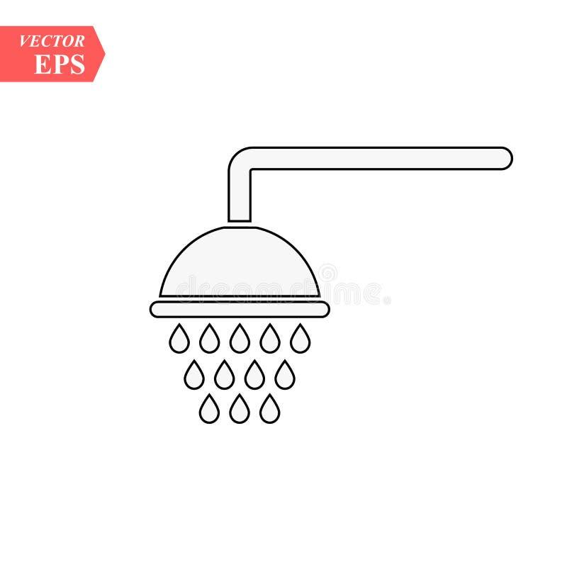 Icono del esquema de la ducha muestra linear del estilo para el concepto y el diseño web móviles Línea simple icono de los Shower ilustración del vector