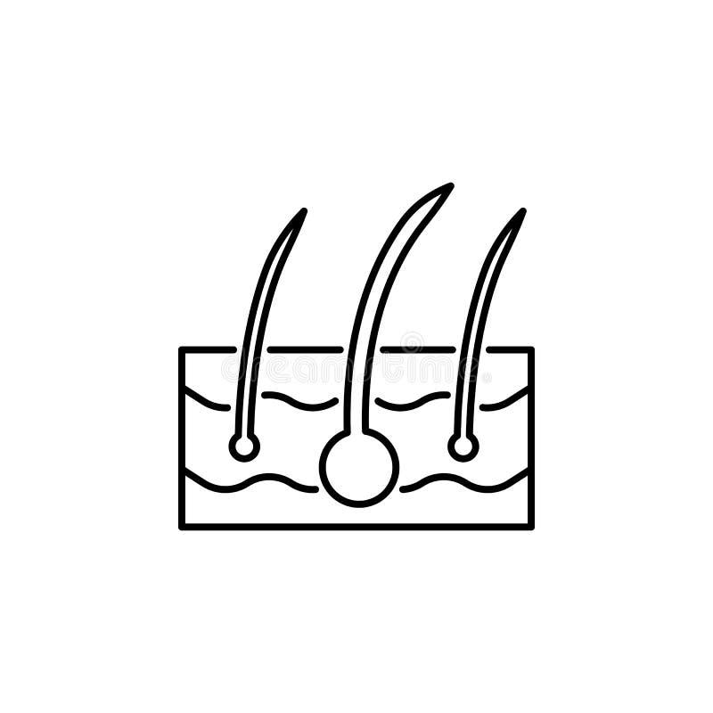 Icono del esquema de la epidermis del órgano humano Las muestras y los símbolos se pueden utilizar para la web, logotipo, app móv ilustración del vector