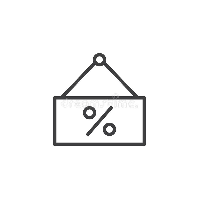 Icono del esquema de la etiqueta del porcentaje libre illustration