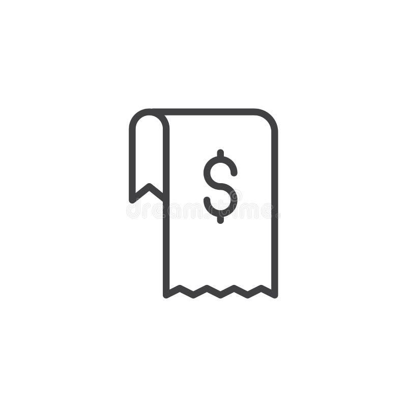 Icono del esquema de la factura del dólar stock de ilustración
