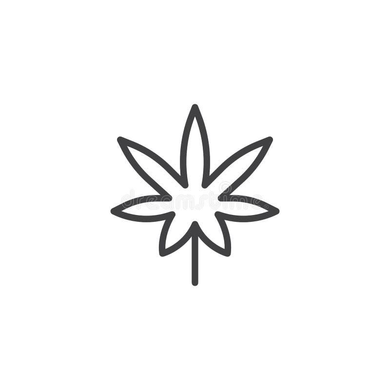 Icono del esquema de la hoja de la marijuana libre illustration