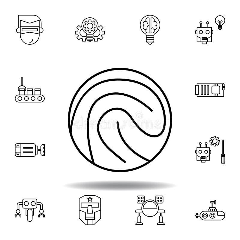 Icono del esquema de la huella dactilar de la rob?tica fije de iconos del ejemplo de la robótica las muestras, símbolos se pueden ilustración del vector