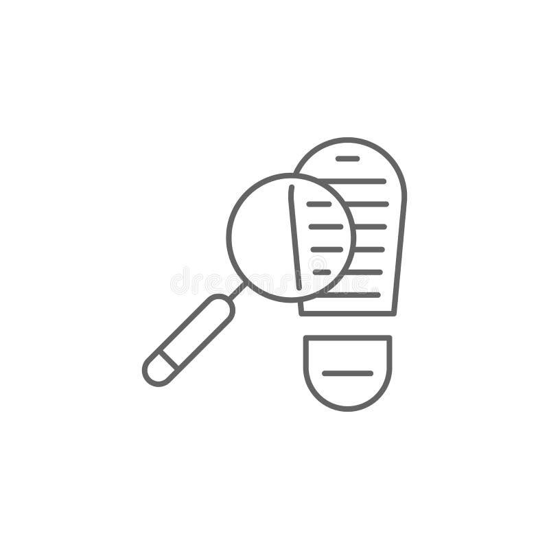 Icono del esquema de la huella de la justicia Elementos de la línea icono del ejemplo de la ley Las muestras, los símbolos y s se ilustración del vector