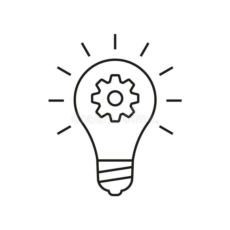 Icono del esquema de la idea Bombilla con la muestra del diente o del engranaje Ilustración del vector ilustración del vector