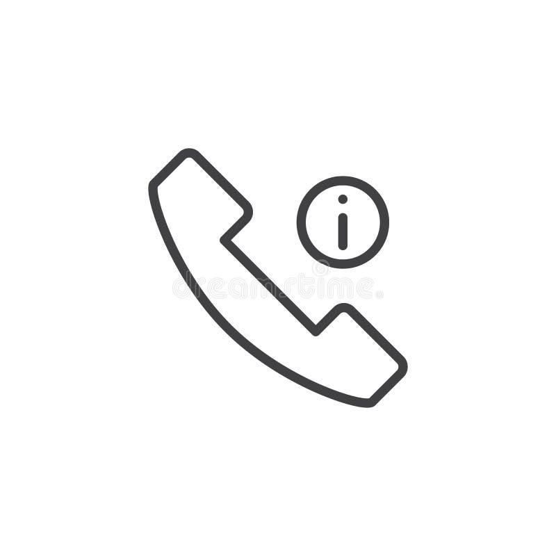 Icono del esquema de la información de llamada de teléfono ilustración del vector