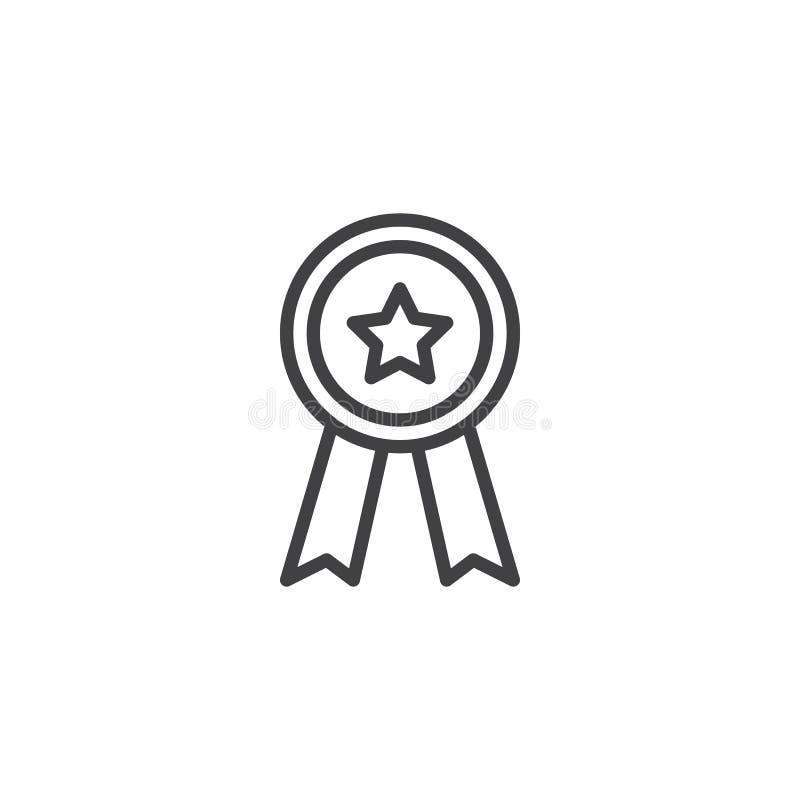 Icono del esquema de la insignia del premio libre illustration
