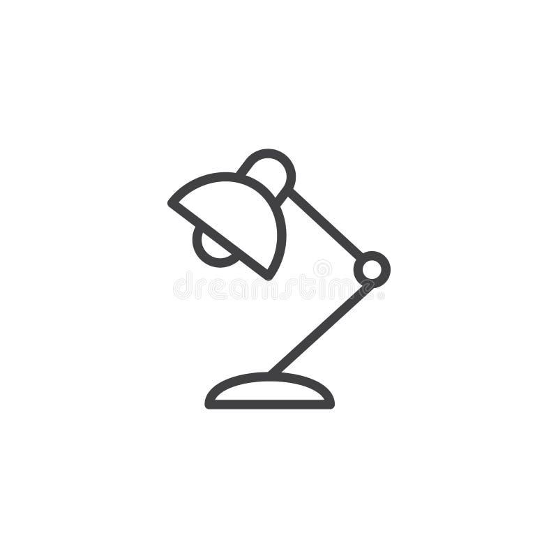 Icono del esquema de la lámpara de escritorio ilustración del vector
