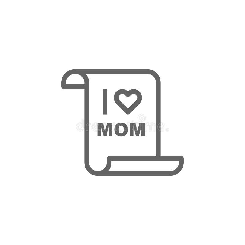 Icono del esquema de la letra de d?a de madres r r ilustración del vector