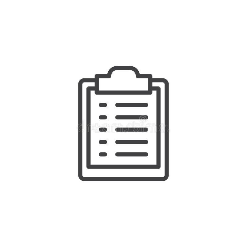 Icono del esquema de la lista de la huésped stock de ilustración
