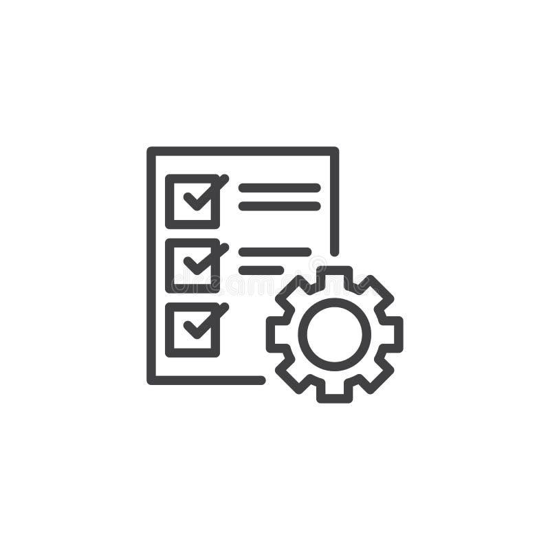 Icono del esquema de la lista de verificación del servicio del coche ilustración del vector