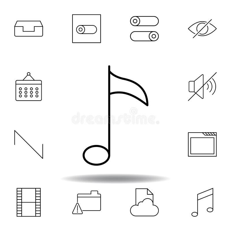 Icono del esquema de la llave de la nota de la m?sica Sistema detallado de iconos de los ejemplos de las multimedias del unigrid  ilustración del vector