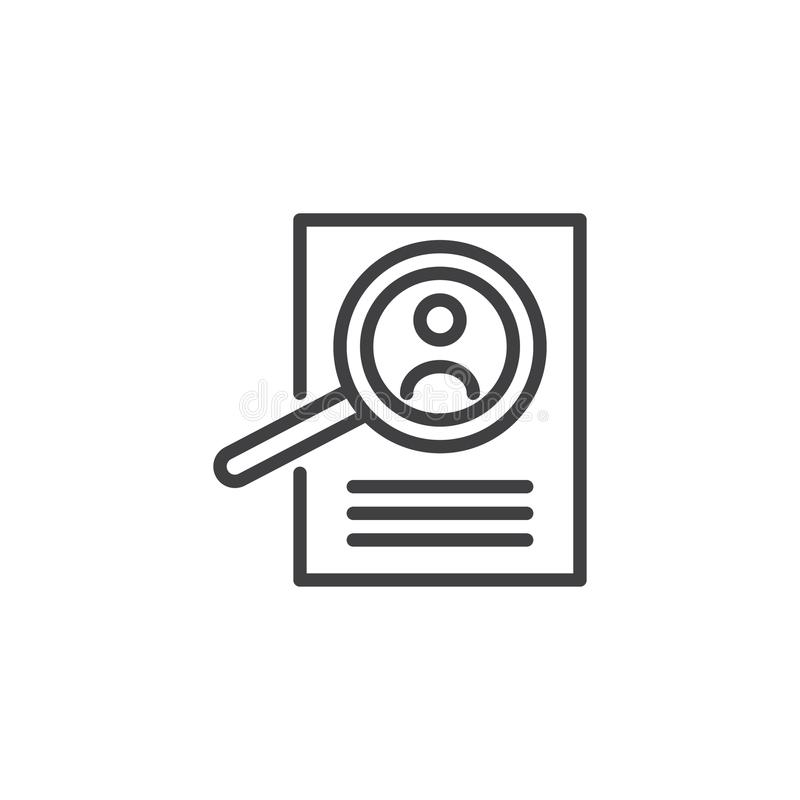 Icono del esquema de la lupa y del curriculum vitae stock de ilustración