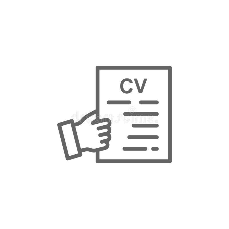 Icono del esquema de la mano del Cv Elementos de la l?nea icono del ejemplo del negocio Las muestras y los s?mbolos se pueden uti stock de ilustración