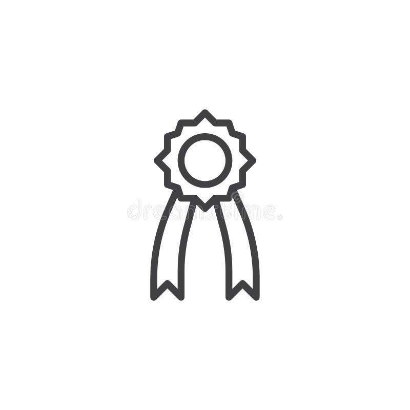 Icono del esquema de la medalla stock de ilustración