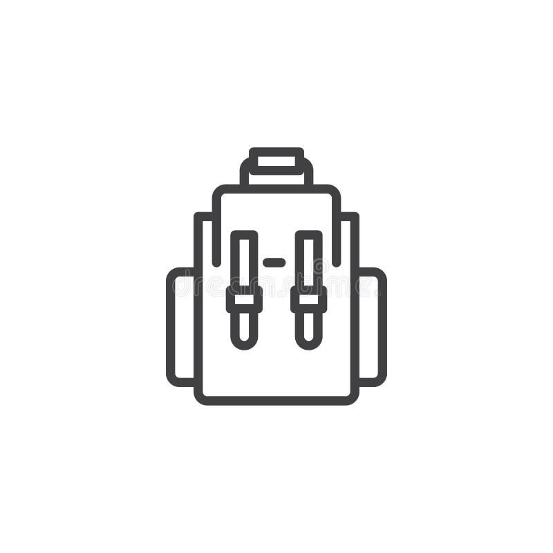 Icono del esquema de la mochila ilustración del vector