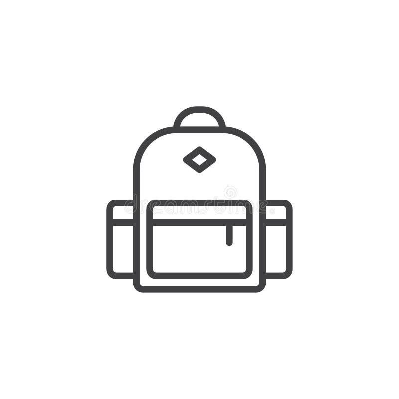 Icono del esquema de la mochila stock de ilustración