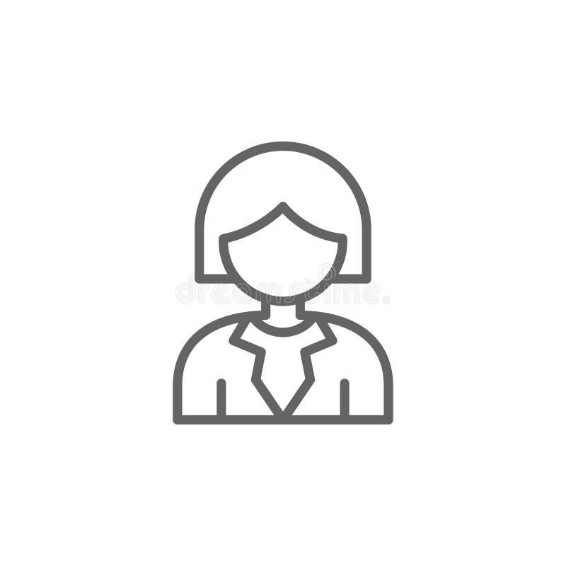 Icono del esquema de la mujer Elementos de la l?nea icono del ejemplo del negocio Las muestras y los s?mbolos se pueden utilizar  stock de ilustración