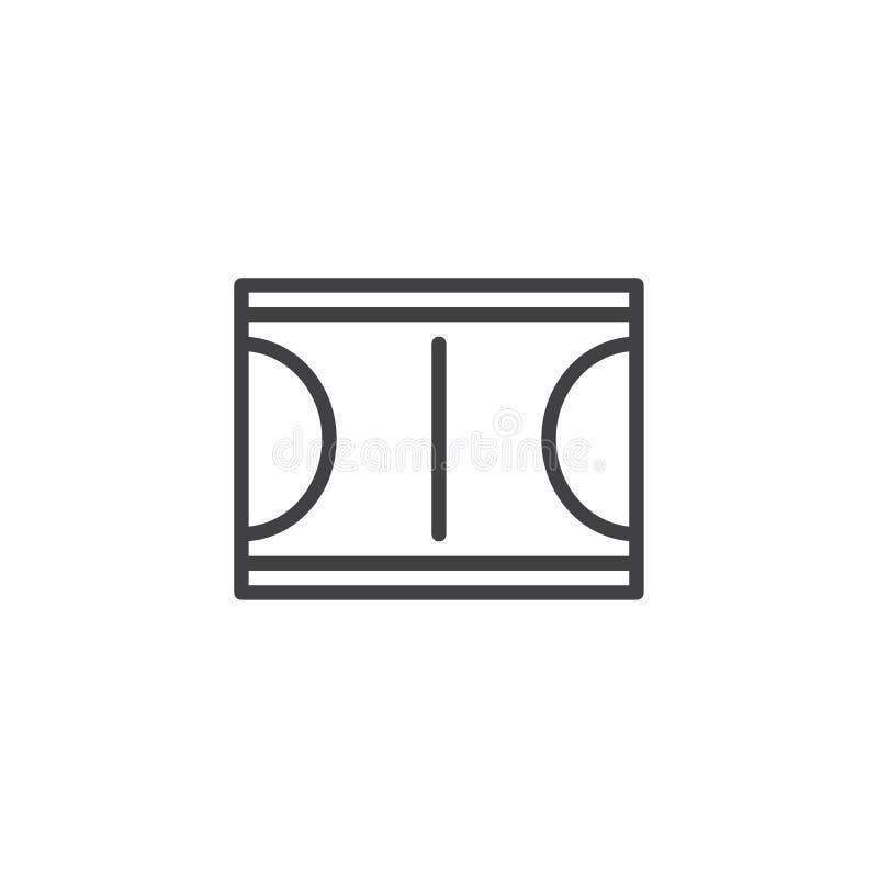 Icono del esquema de la opinión superior de la cancha de básquet stock de ilustración