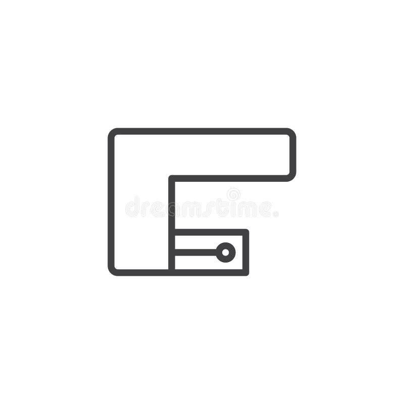 Icono del esquema de la opinión superior de la cocina de la esquina stock de ilustración