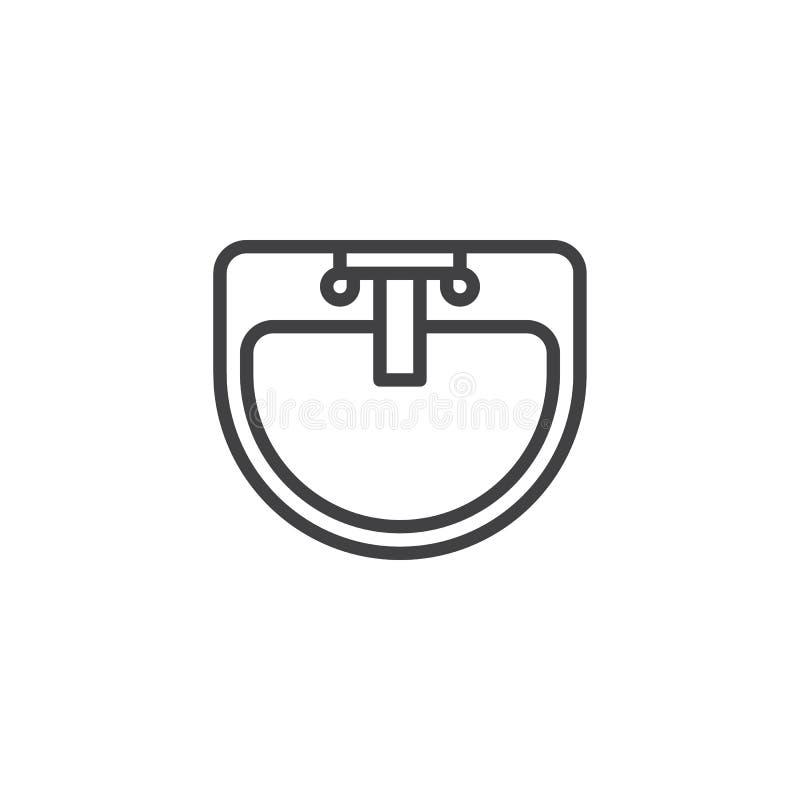 Icono del esquema de la opinión superior del golpecito del lavabo y de agua stock de ilustración