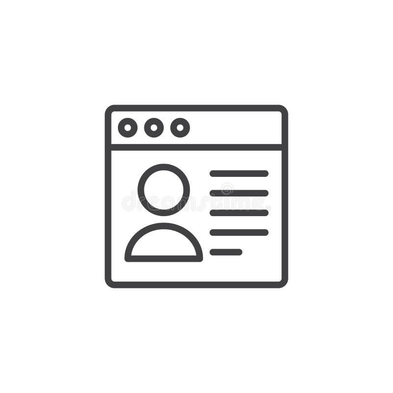 Icono del esquema de la página del navegador del perfil de usuario libre illustration