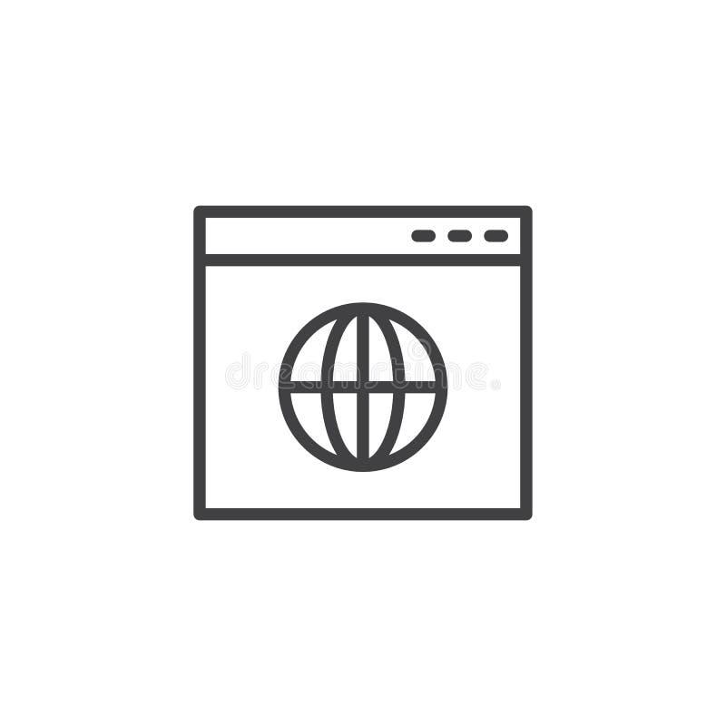 Icono del esquema de la página web del navegador de Internet ilustración del vector