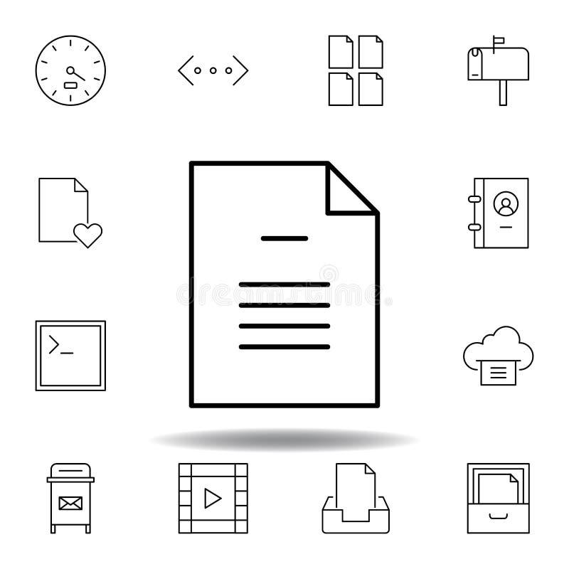 Icono del esquema de la p?gina del fichero de documento Sistema detallado de iconos de los ejemplos de las multimedias del unigri ilustración del vector